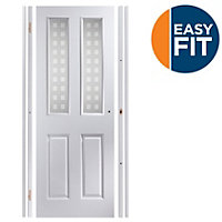 Easy fit 4 panel Patterned Frosted Glazed Pre-painted White Adjustable Internal Door & frame set, (H)1988mm-1996mm (W)759mm-771mm