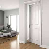 Easy fit 4 panel Pre-painted White Adjustable Internal Door & frame set, (H)1988mm-1996mm (W)759mm-771mm
