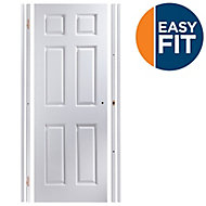Easy fit 6 panel Pre-painted White Adjustable Internal Door & frame set, (H)1988mm-1996mm (W)759mm-771mm