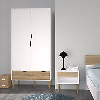 Ebru Contemporary White oak effect Particle board 2 Drawer Double Wardrobe (H)2001mm (W)986mm (D)580mm