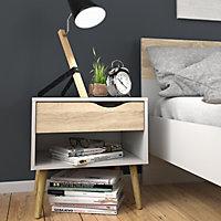 Ebru Matt white oak effect 1 Drawer Bedside chest (H)497mm (W)502mm (D)391mm