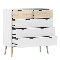 Ebru Matt white oak effect 5 Drawer Chest of drawers (H)1009mm (W)987mm (D)391mm