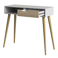Ebru Matt white oak effect Painted 1 Drawer Desk (H)898mm (W)1030mm (D)435mm