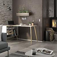 Ebru Matt white oak effect Painted 2 Drawer Desk (H)758mm (W)1451mm (D)810mm