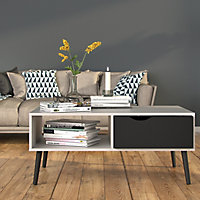Ebru White & black Painted 1 Drawer Coffee table (H)433mm (W)987mm (D)602mm