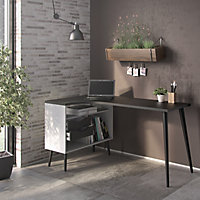 Ebru White & black Painted 2 Drawer Desk (H)758mm (W)1451mm (D)810mm
