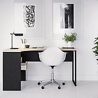 Ebru White & black Painted 2 Drawer Desk (H)768mm (W)1451mm (D)810mm
