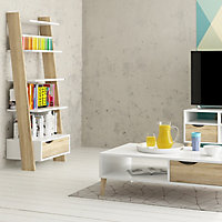 Ebru White oak effect Painted 4 Shelf Bookcase (H)1804mm (W)551mm (D)481mm