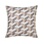 Eclat Geometric Beige & grey Cushion (L)45cm x (W)45cm