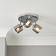 Eden Smoke Chrome effect Mains-powered 3 lamp Spotlight