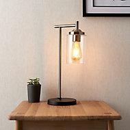 Edinburgh Matt Black Antique brass effect Table lamp