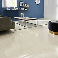 Elegance Beige Gloss Marble effect Porcelain Floor Tile Sample