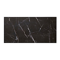 Elegance Black Gloss Marble effect Ceramic Wall & floor Tile, Pack of 7, (L)600mm (W)300mm