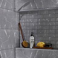 Elegance Grey Marble effect Ceramic Mosaic tile sheet, (L)300mm (W)300mm