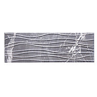 Elegance marble Grey Gloss 3D decor Marble effect Ceramic Wall tile, Pack of 7, (L)600mm (W)200mm