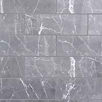 elegance marble grey gloss marble effect ceramic wall tile