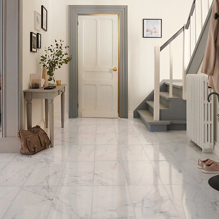Elegance White Gloss Marble effect Ceramic Floor tile, Pack of 7, (L)600mm  (W)300mm | DIY at B&Q