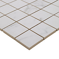 Elegance White Marble effect Ceramic Mosaic tile, (L)300mm (W)300mm