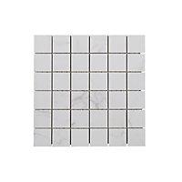 Elegance White Marble effect Mosaic Ceramic Mosaic tile, (L)300mm (W)300mm