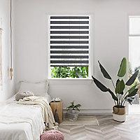 Elin Corded Dark grey Striped Day & night Roller Blind (W)120cm (L)180cm