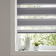 Elin Corded Dark grey Striped Day & night Roller Blind (W)180cm (L)180cm