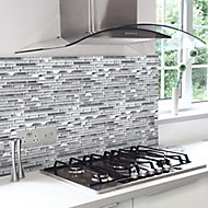 Elysee ice Brushed Glass & metal Mosaic tile, (L)298mm (W)328mm