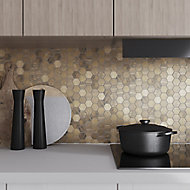 Enaide Copper Metal effect Stainless steel Mosaic tile sheet, (L)296mm (W)299mm