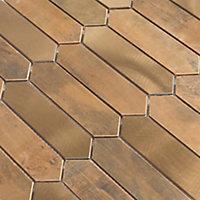 Enaide Copper Metal effect Stainless steel Mosaic tile sheet, (L)330mm (W)282mm
