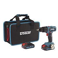 Erbauer EXT 18V 2Ah Li-ion Cordless Combi drill 2 batteries EBCD18Li-2