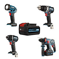 Erbauer EXT 18V 5Ah Li-ion Cordless 4 piece Power tool kit