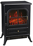 Eros Black Cast iron effect Electric Stove