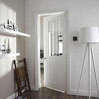 Etched Glazed Cottage Primed White Woodgrain effect LH & RH Internal Door, (H)1981mm (W)762mm