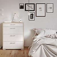 Evie Gloss white oak effect 4 piece Bedroom furniture set