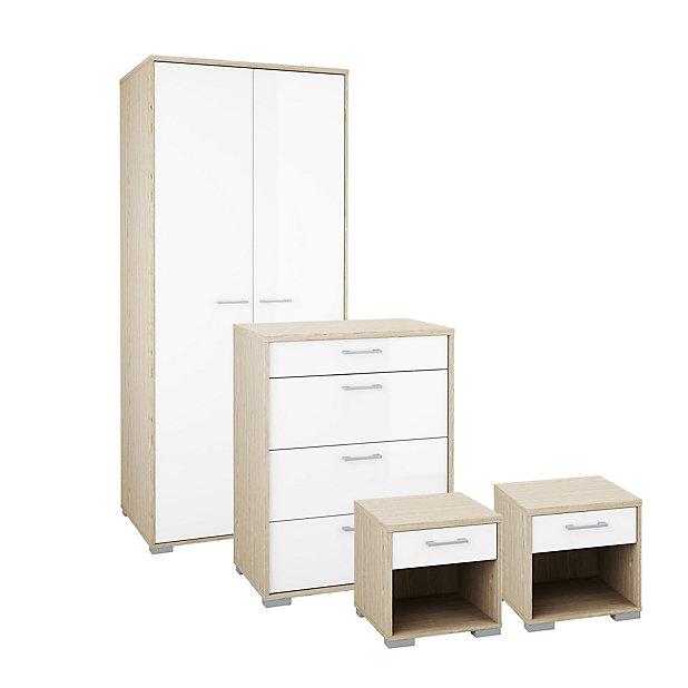Evie Gloss White Oak Effect 4 Piece, White Bedroom Furniture Sets B Q