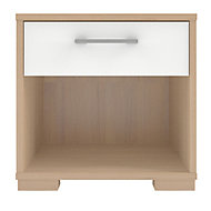 Evie Matt & high gloss white oak effect 1 Drawer Bedside chest (H)393mm (W)402mm (D)342mm