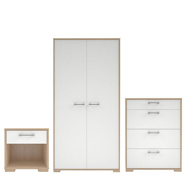 Evie Matt High Gloss White Oak Effect, White Bedroom Furniture Sets B Q