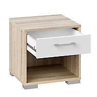 Evie White oak effect 1 Drawer Bedside chest, Set of 2 (H)393mm (W)402mm (D)342mm