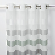 Faga Grey & white Horizontal stripe Unlined Eyelet Voile curtain (W)140cm (L)260cm, Single
