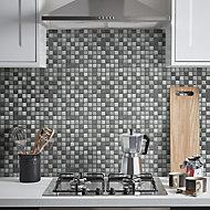 Faros Grey Glass Mosaic tile sheet, (L)300mm (W)300mm
