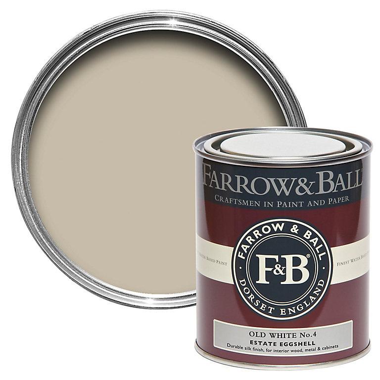 Farrow Ball Estate Old White No 4 Eggshell Metal Wood Paint 0 75l Diy At B Q