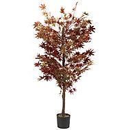 Faux red acer tree Black Plastic Pot