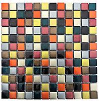 Fiesta Multicolour Handmade effect Glass 3x3 Mosaic tile, (L)300mm (W)300mm