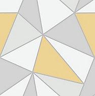 Fine Décor Apex Grey & yellow Geometric Metallic effect Smooth Wallpaper