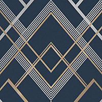 Fine Décor Flemming Navy Geometric Metallic effect Embossed Wallpaper