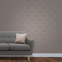Fine Décor Grey Geometric Copper effect Embossed Wallpaper