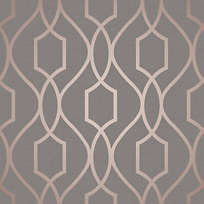 Fine Decor Grey Geometric Copper Effect Embossed Wallpaper Diy At B Q