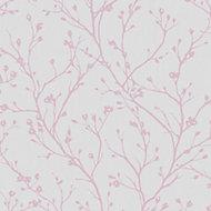 Fine Décor Laurel Mauve Floral Smooth Wallpaper