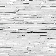 Fine Décor Ledgestone White Stone effect Smooth Wallpaper