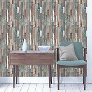 Fine Décor Multicolour Wood Wallpaper