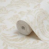 Fine Décor Verona Beige Damask Glitter effect Textured Wallpaper